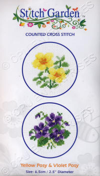 Yellow Posy & Violet Posy Stitch Garden Counted Cross Stitch Kits